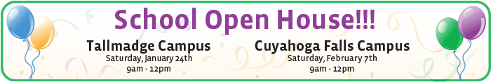 Come visit our 2015 Spring Open House at either the Cuyahoga Falls or Tallmadge Campuses